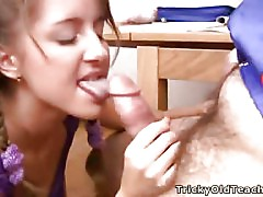 Legal Age Teenager Sabrina is attractive and sexy so her old teacher made her visit additional classes where that guy fucked her. But this babe enjoyed his wrinckled dong in her love tunnel and whory mouth.