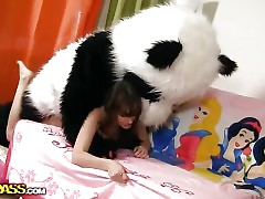 Tonight this cute brunette hair is a wonderful fairy, and this babe can make any desire come true. So why not make her own desire come true, then? And the frisky chick turned her miniature teddy bear into a large fluffy panda. Having him around was so fun